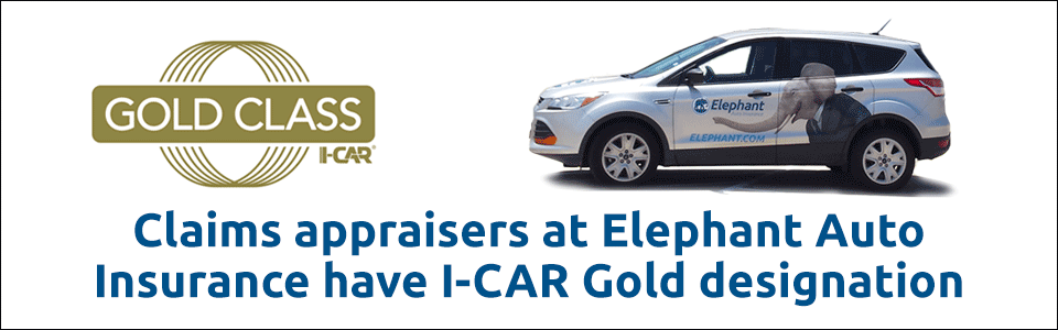 Claims appraisers at Elephant Auto Insurance have I-CAR Gold designation