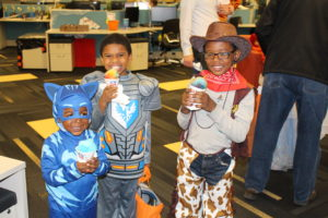 Families at Elephant celebrating Halloween.